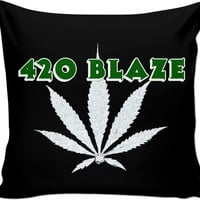 420 BLAZE black couch pillow design, stoner's bedroom, room decor, marihujana, ganja leaf