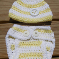 Crochet Diaper Cover and Beanie, Baby Girl or Boy Yellow and White Stripe Soaker , Crochet Photo Prop