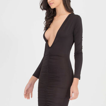 Hot Nights Plunging Ruched Bodycon Dress GoJane.com