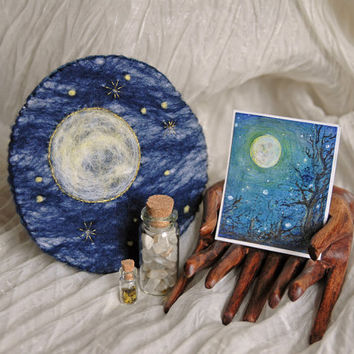 Needle Felted Full Moon Pouch with Full Moon Painting, Moonstone, Gold Stars