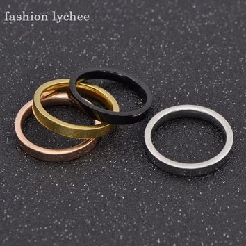 fashion lychee 4 Colors Set Wide Band Titanium Steel Engagment Love Ring Vintage Ring For Wedding Party Gift US Size 7-10