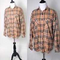 Vintage 1990s Brown Burberry Style GRUNGE plaid oversize long sleeve button down Soft