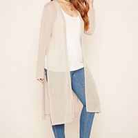 Plus Size Ribbed M-Slit Cardigan