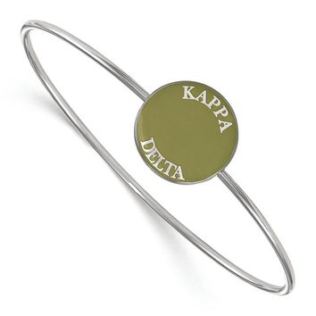 Sterling Silver Kappa Delta Enamel Bangle - 7 in.