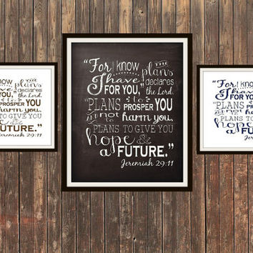 For I Know The Plans I Have For You Jeremiah 29:11 typographic chalkboard print 5x7 8x10 11x14 12x16 16x20 scripture Bible verse Bible quote