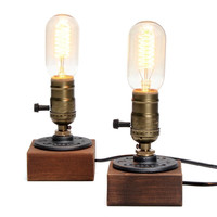 Wooden Table Lamp Vintage Desk Lamp 3 Plug Dimmer  40W Edison  Bulb 220V Bedroom Night Light  Table Light Desk Light Coffee Bar