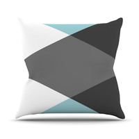 """Suzanne Carter """"Diamonds"""" Gray Blue Throw Pillow, 16"""" x 16"""" - Outlet Item"""
