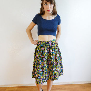 floral high waist skater skirt - vintage gathered circle a line skirt - pink yellow purple black - women small xs - 80s 1980s retro