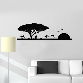 Vinyl Wall Decal Nature Landscape Australia Kangaroo Animals Decor Stickers Mural (ig5609)