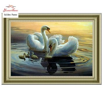 Needlework,DIY DMC Cross stitch,Sets For Embroidery kits,Precise Printed swans Patterns enough thread Counted Cross-Stitching
