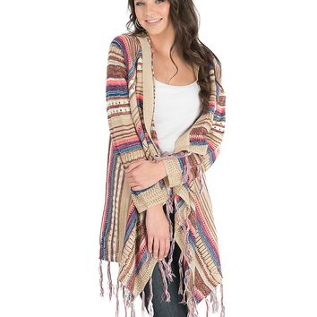 Rock & Roll Cowgirl Women's Cream and Neon Striped with Fringe Long Sleeve Cardigan