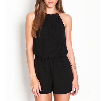 Zanzea Solid Rompers Womens 2017 Summer Hollow Out Sexy Sleeveless Playsuits Halter Keyhole Back Chiffon Overalls Plus Size