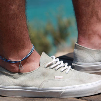 Men's Anklet - Men's Ankle bracelet - Anklet for Men - Ankle Bracelet For Men - Men's Jewelry - Men's Blue Anklet - Mens Cool Jewelry