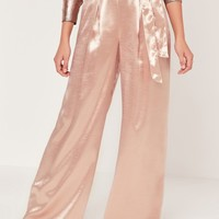Missguided - Satin High Shine Wide Leg Trousers Pink