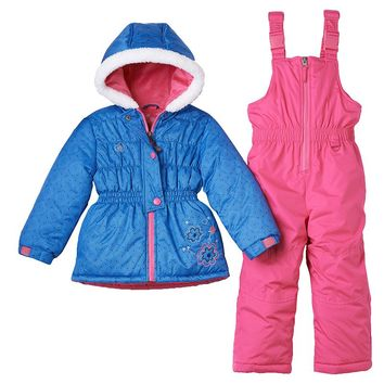 Rugged Bear Floral Hooded Jacket & Bib Snow Pants Set - Girls