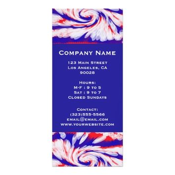red white and blue personalized rack card
