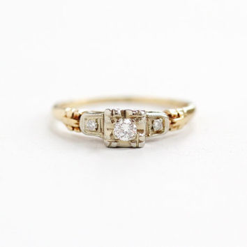 Vintage 14K Rosy Yellow & White Gold Diamond Ring - Size 5 Two Tone Diamond Shoulders 1940s Engagement Wedding Fine Jewelry Keepsake