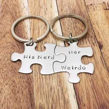 His Nerd Her Weirdo keychains, Geek Gift, couples keychains, couples gift , Anniversary Gift