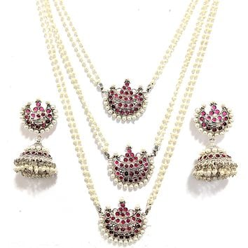 Unique triple stranded kemp stone arc pendants pearl bead Necklace and Jhumka Earring set
