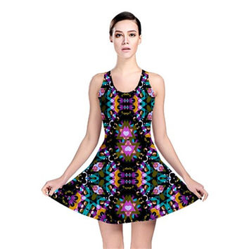 Digital Futuristic Geometric Pattern Reversible Skater Dress