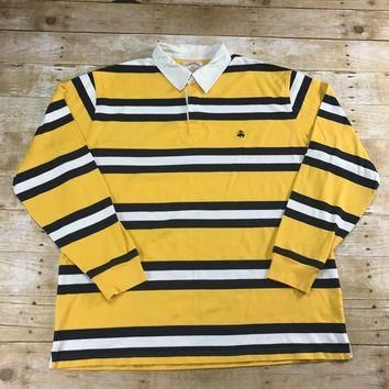 Brooks Brothers Yellow / Navy Blue Rugby Striped Long Sleeve Polo Shirt Mens Size XL