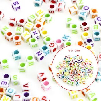 6mm 7mm 10mm 100pcs Mixed color Letter Alphabet Cube Acrylic Beads For Jewelry making DIY