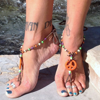 Hippie / Ankle Attire Collection / Barefoot Sandals By Iris (Small/Indie Brands)