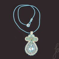 Crystals, unique soutache necklace, handcrafted, turquoise, golden jewelry, set
