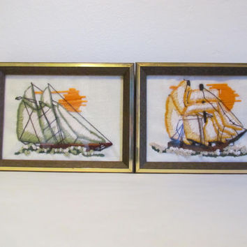 Set of 2 Ship Pictures Stitched Ship Pictures Crewel Needlework