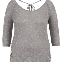 Plus Size - Crochet Side Knit Top - Gray