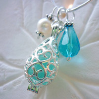 Turquoise Sea Glass Necklace Locket Beach Glass Jewelry Blue Silver Seaglass Pendant