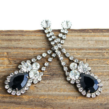 Vintage Rhinestone & Onyx Black Earrings -  Silver Tone Dangle Post Faux Diamond Costume Jewelry / Bridal Accessory