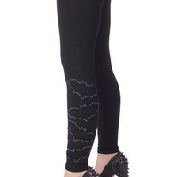 Sourpuss Black Go Batty Leggings Pants