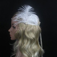 Vintage 1920s Great Gatsby Feather Flapper Rhinestone Headband Crown