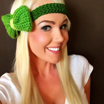 St. Patty's Green Crochet Bow Headband w/Natural Vegan Coconut Shell Buttons Adjustable Hair Band Girl Woman Teen Head Wrap Knit Accessories