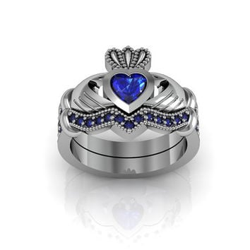 Sterling Silver Created Blue Sapphire Claddagh  Love and  Friendship Engagement Ring Set