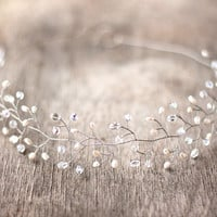 Wedding headpiece, Silver tiara, Crystals tiara, Bridal headpiece, bridal hair accessories, wedding tiara, pearls tiara, Silver headpiece