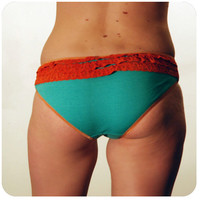 Seafoam Blue and Coral Lace Soy Blend Bloomers BU-02-30