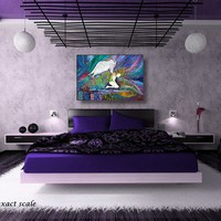 Fallen Angel Colorful Abstract Painting Original Acrylic Cityscape
