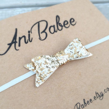 Light Bronze Glitter Bow Baby headband, baby bow headband, Glitter Headband, Glitter Bow, infant bow headband, newborn bow headband