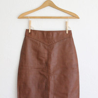 Vintage 80s Brown Leather Fitted Pencil Skirt // High Waisted Geometric Mini Skirt