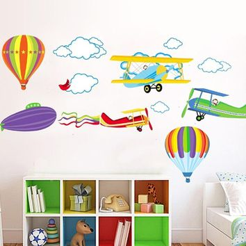 Cartoon Airplane and Hot Air Balloons Vinyl Decals Wall Sticker