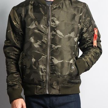 Tonal Camo Bomber Flight Jacket