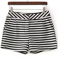 Black and White Striped Mini Shorts