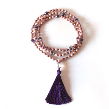 Crown Chakra Mala - 108 Hand-Knotted Rosewood Beads with Amethyst, Clear Quartz, and Silk Tassel