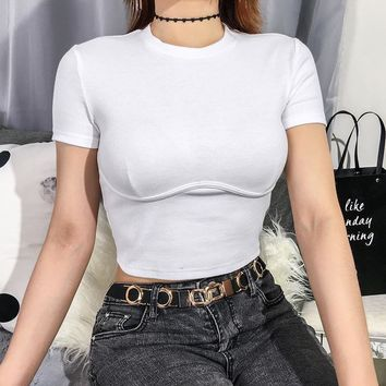 Women's Fashion Boyfriend Short Sleeve Crop Top T-shirts [2076688515169]