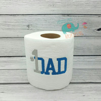 Number 1 Dad embroidered toilet paper fathers day, gag gift, white elephant gift, bathroom decoration, home decor, #1 dad, daddy grandfather