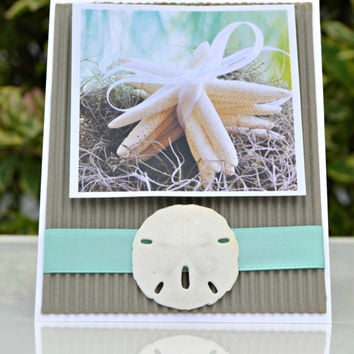 Seaside Beach Card Starfish and Sand Dollar Note Card