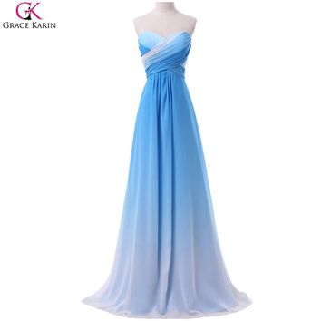 Ombre Prom Dresses Grace Karin Strapless Chiffon Blue Rainbow Elegant Formal Gowns Green Gradient Long Wedding Party Dress Prom