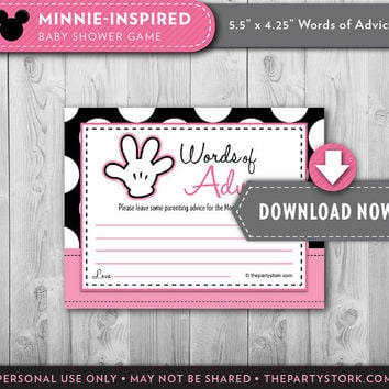 Minnie Baby Shower Games, ADVICE CARDS, Printable Minnie Mouse theme, Pink, White, polka dots, Many Fun Games available, Instant Download